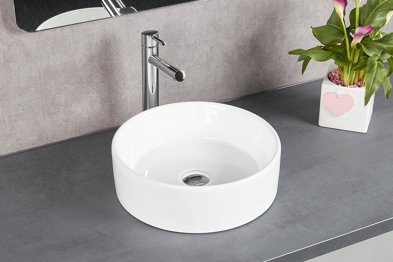 prsHOME® POZILLO Design - Lavabo da appoggio per bagno in ceramica, rotondo