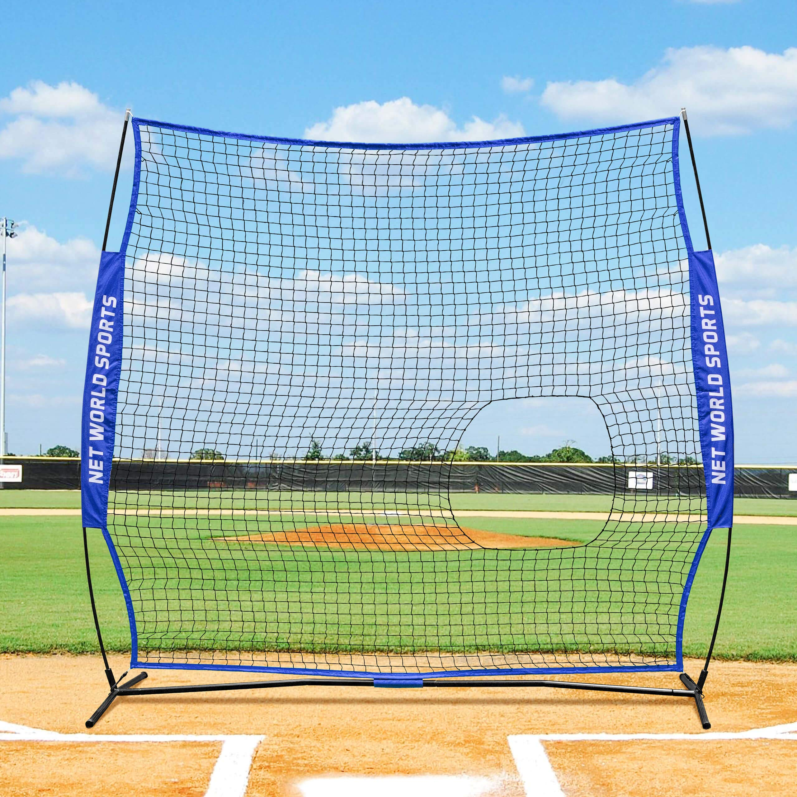 Fortress 7' x 7' Pitch-Thru Protection Screen - Pop-up Baseball Softball Screen - Carry Bag Included by Fortress