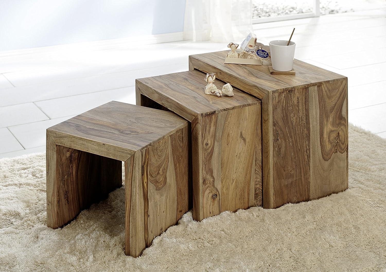 SalesFever Dreisatztisch Yoga, aus aus aus Sheeshamholz, Natur, Beistelltische im 3er Set, Pflegeleichtes Unikat 889e8c