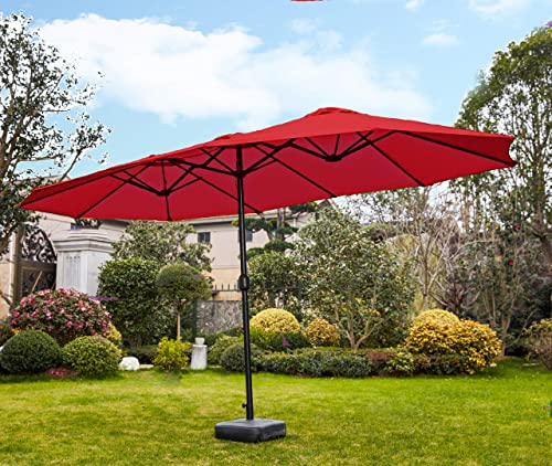Romayard Double-Sided Outdoor Umbrella,15×9 ft Aluminum Garden Large Umbrella with Crank for Market,Camping,Swimming Pool Vitality Red