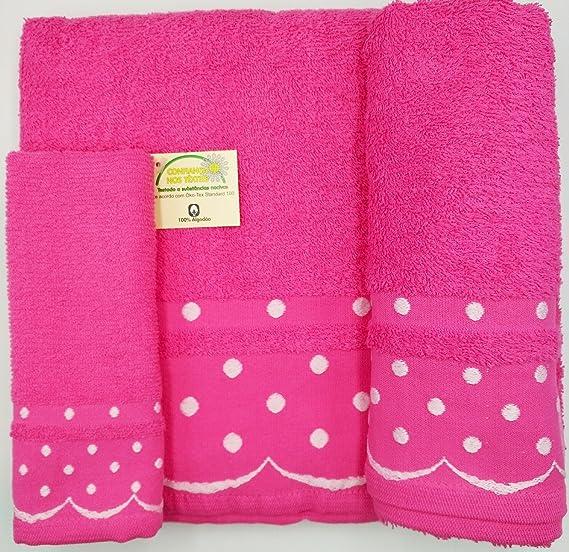 Confort Home M.T Juego de Toallas de baño 3 Piezas Modelo Perlas (1 Toalla de baño, 1 Toallas de Manos y 1 Toalla Cara) 100% algodón, Varios Colores, ...