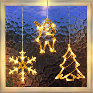 3 Pack Christmas Indoor Window Light Decoration, Backdrop String Lights for Outdoor Indoor Home Bedroom Wedding Party Holiday Wall, 1 Christmas Tree, 1 Santa Claus, 1 Snowflake, Warm White
