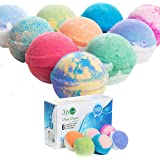 360Feel Bath Bombs Gift Set 6 Large USA made -Made with Essential Oil -All Natural Organic Bath Fizzies- Gift ready box - Aro