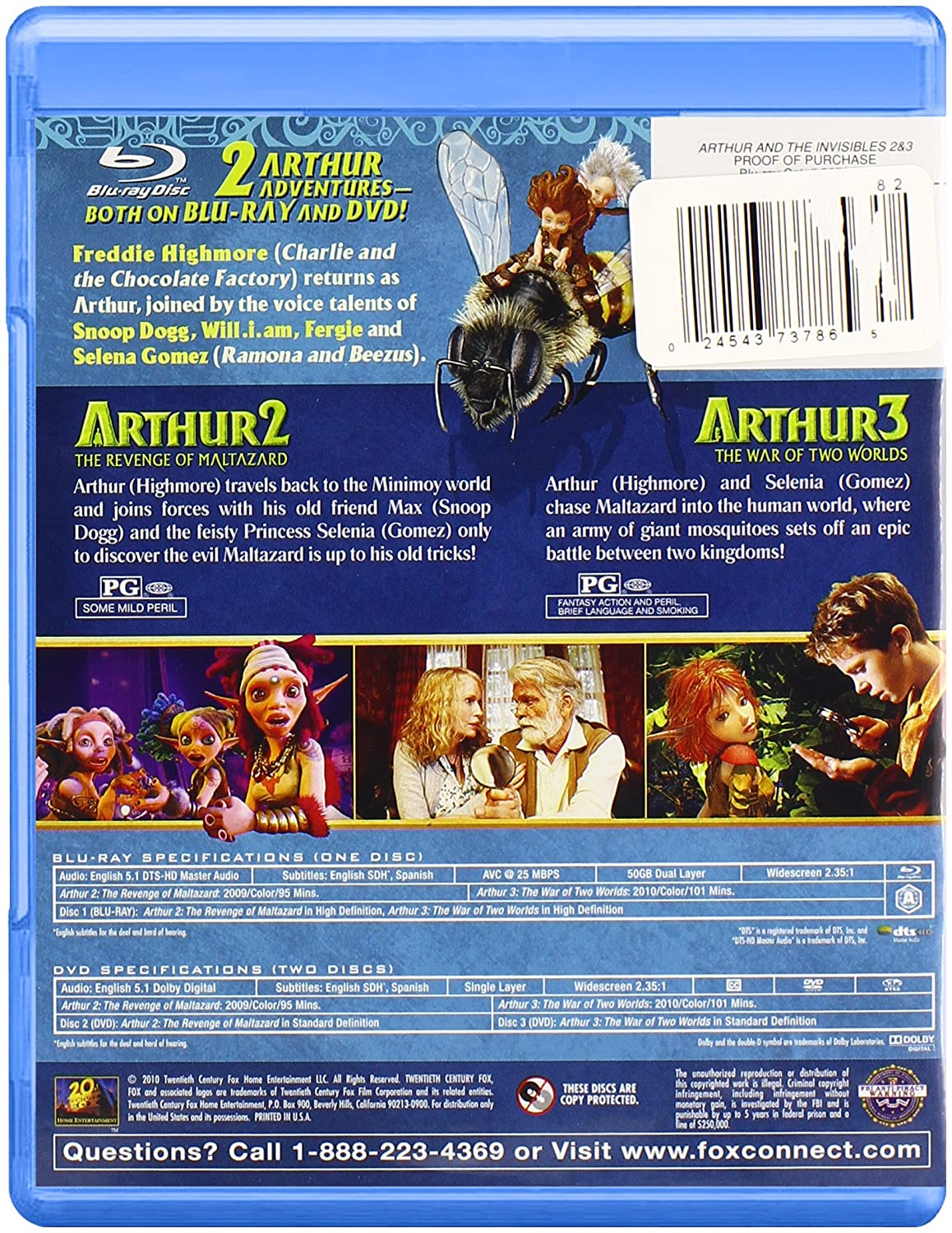 Amazon Com Arthur And The Invisibles 2 And 3 New Minimoy Adventure Blu Ray Arthur The Invisibles 2 3 New Minimoy Adventur Movies Tv
