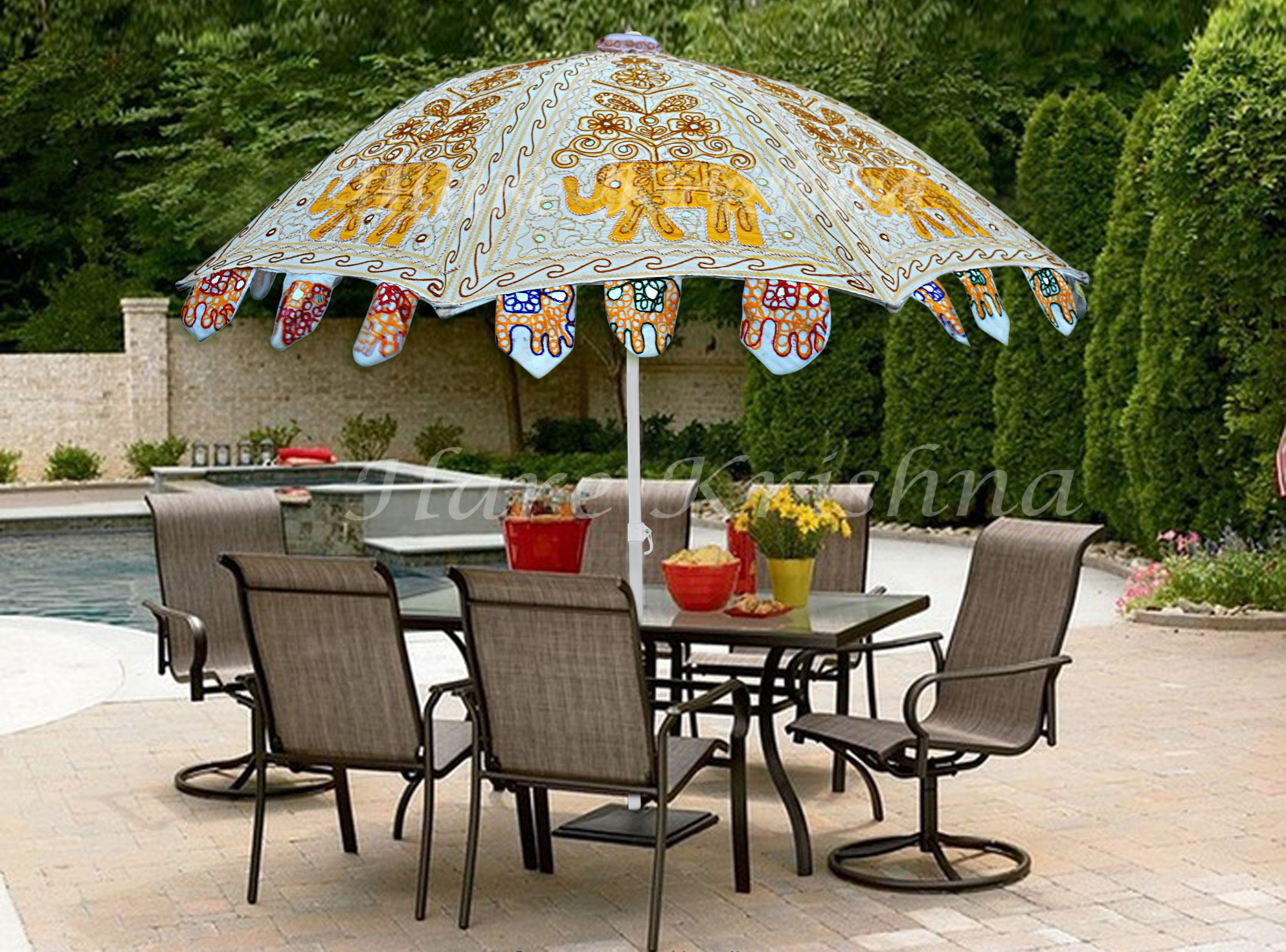 Hare Krishna Large Garden Parasol Round Outdoor Cafe Resort Umbrella 70 x 90 Inches - Decorative Garden Umbrella Sun Parasol Made in India With Colorful Embroidery These Umbrella are designed in various color combination and are offered in a multitude of motifs, patterns, various other specifications. Can't be used in rain - shades-parasols, patio-furniture, patio - 91mGeQ0%2BuwL -