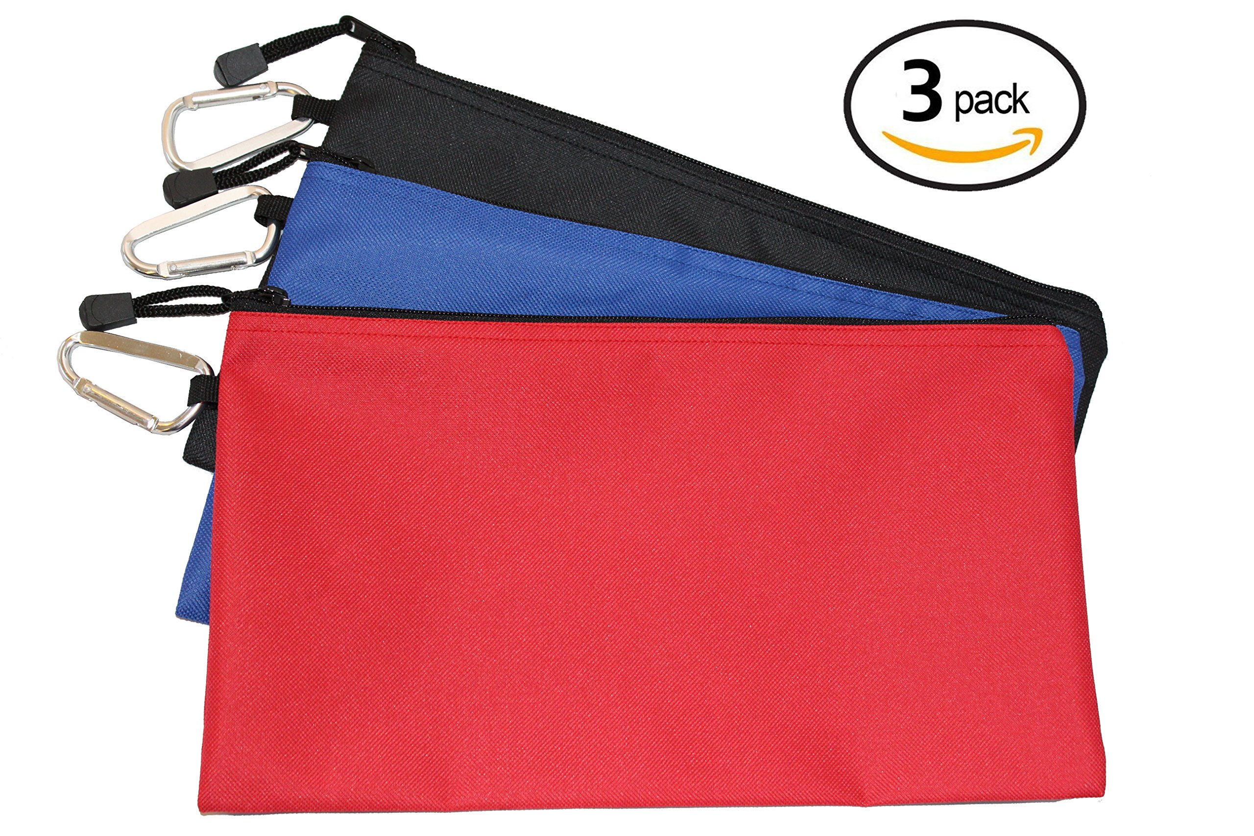 Waterproof Poly Tool Pouch - 3 PACK of Clip Bags, 12.5'' x 7'' with 2.5'' Carabiner and Zipper
