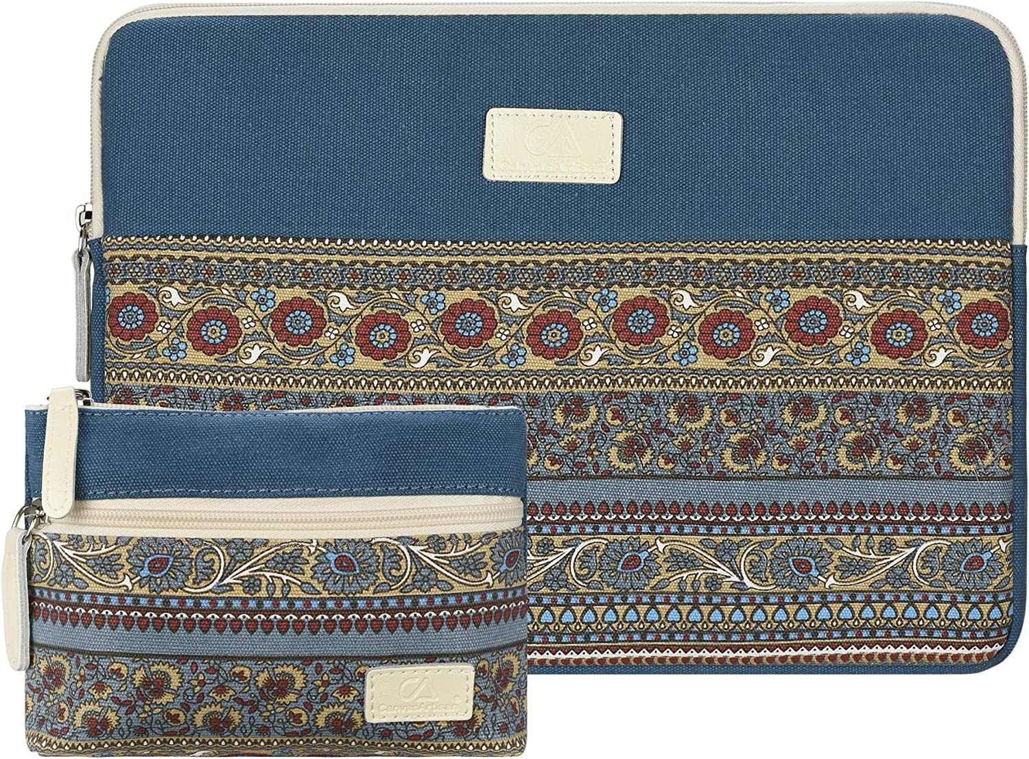 Case Star 13-13.3 inch Laptop Sleeve Canvas Bag Compatible 2018 New MacBook Air 13 A1466 A1932 Retina Display/MacBook Pro 13 A1708 A1706 with Small Case Electronics Accessories Organizer(Lake Blue)