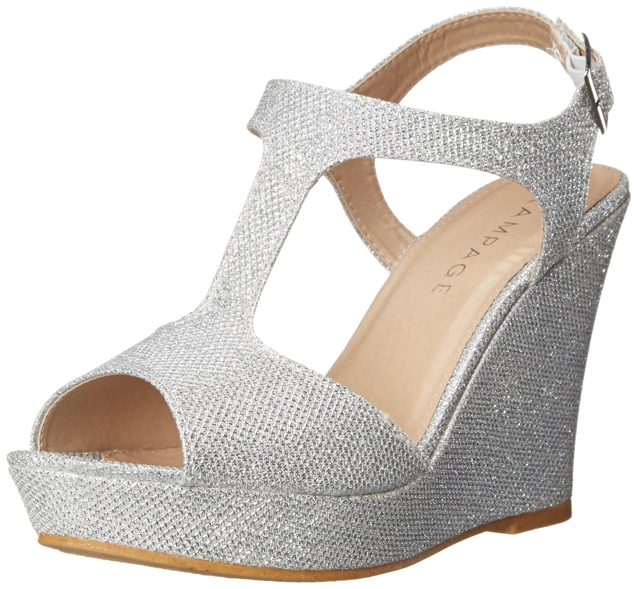 Rampage Women's Candelas Platform Ankle Strap Dress Wedge Sandal, Silver, 9 M US