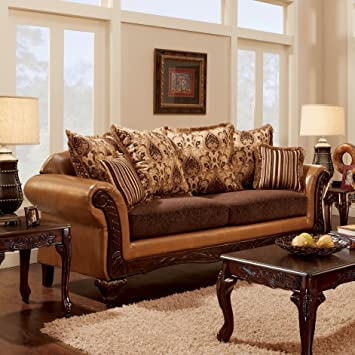 Furniture Of America Lenea Traditional Chenille Fabric And Faux Leather  Camel Brown Sofa