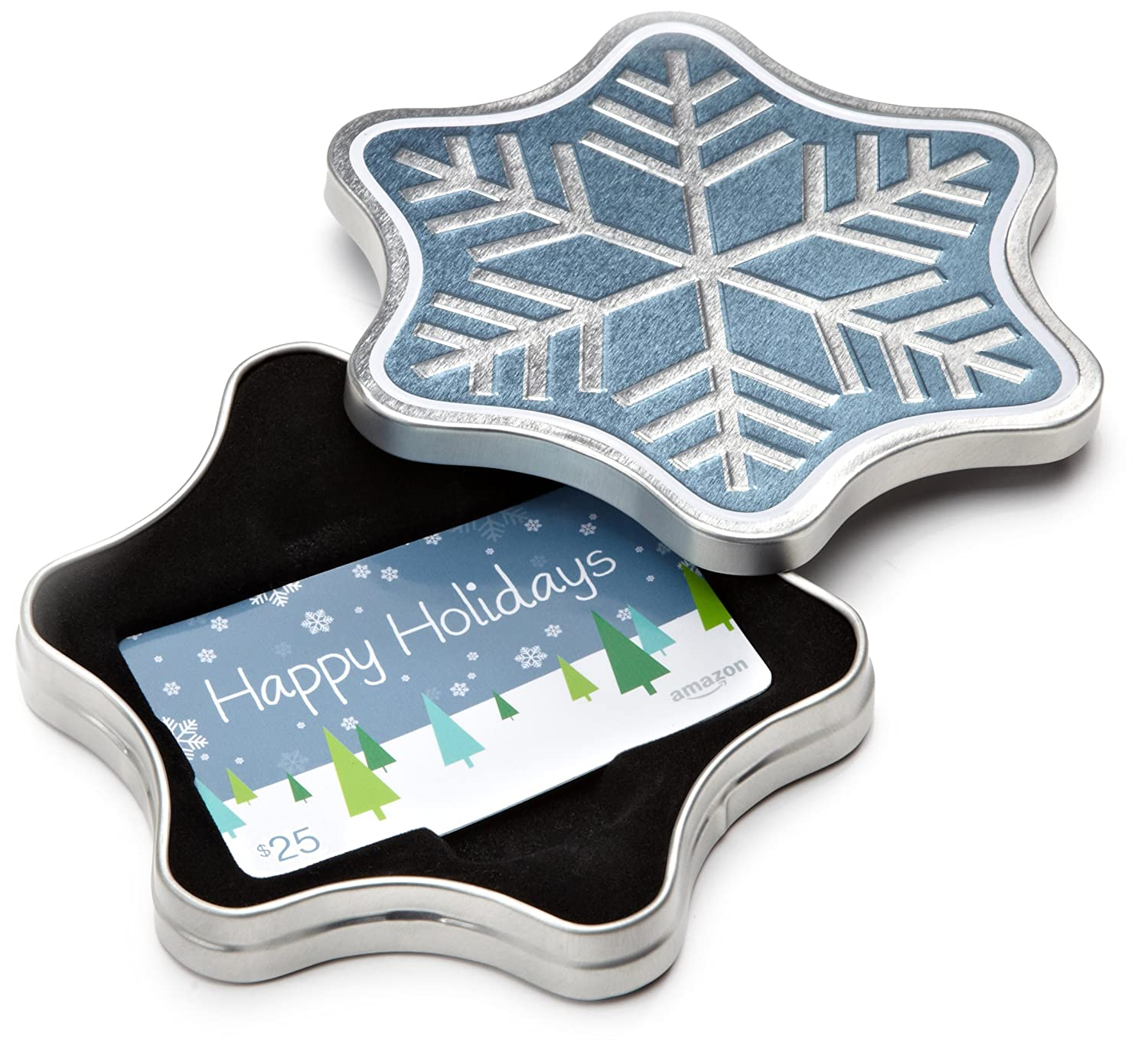 Amazon.com Gift Card in a Snowflake Tin (Happy Holidays Card Design) VariableDenomination