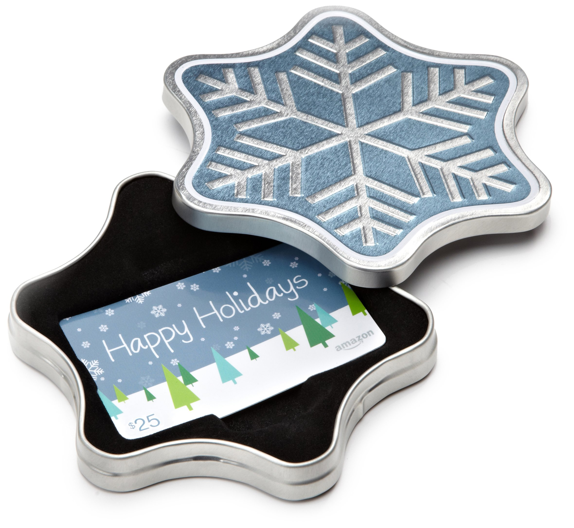 Pay outs as low as 1 for amazon gift card minimum of 10 for - Amazon Com Gift Card For Any Amount In A Snowflake Tin Happy Holidays Card