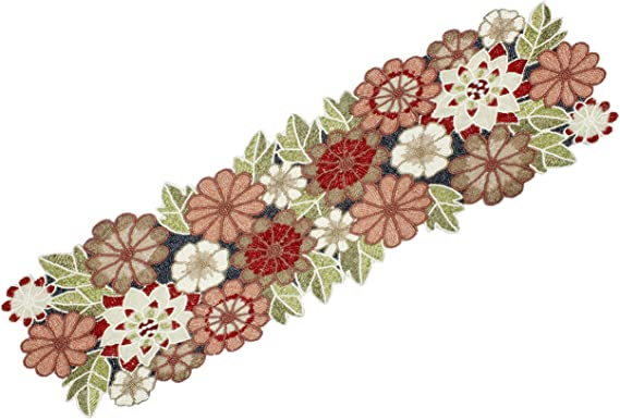 """Multi Color Floral Designer Hand Crafted Table Runner Fully Beaded 13/"""" x 36/"""""""