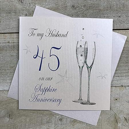 Anniversario Matrimonio In Inglese.White Cotton Cards P45h Biglietto D Auguri Per 45 Anniversario