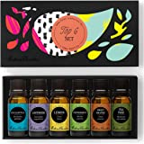 Top 6 100% Pure Therapeutic Grade Basic Aromatherapy Sampler Essential Oil Gift Set- 6/10 ml of Eucalyptus, Lavender (Bulgarian), Lemon, Peppermint, Sweet Orange and Tea Tree by Edens Garden