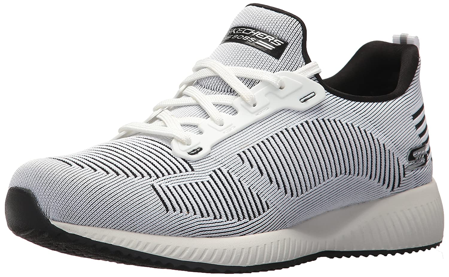 Skechers BOBS from Women's Bobs Squad-Twinning Fashion Sneaker B07263CYW5 5.5 B(M) US|White/Black