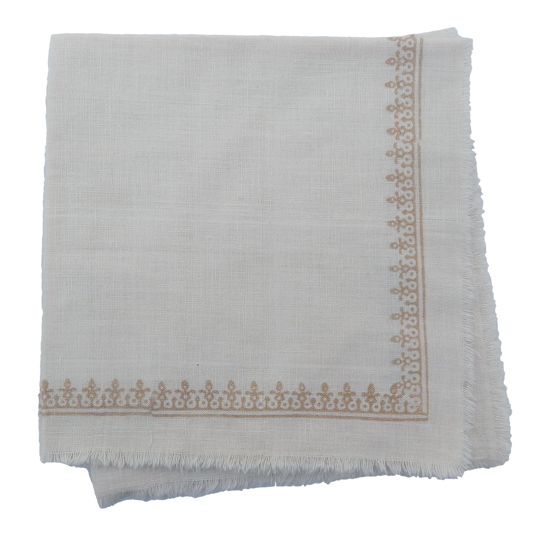 Gitika Goyal Home Cotton Khadi Gold Hand Block Printed 17x17 Napkin Small Kangura Design (Set of 4), Cream