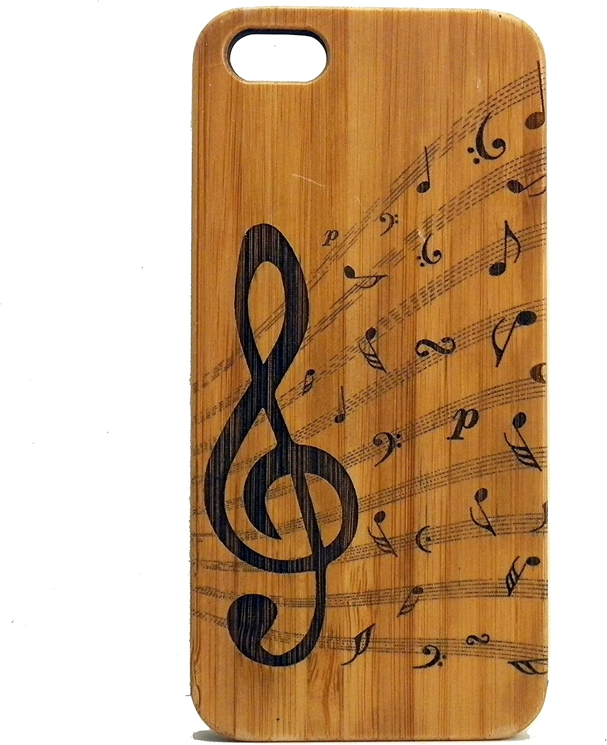 iMakeTheCase Treble Clef Case for iPhone 5, iPhone 5S or iPhone SE (2016) Eco-Friendly Bamboo Wood Cover | Music Musician Orchestra Songwriter Choir