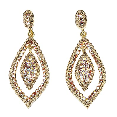 dbf24317a0a3 AB Topaz   Topaz Swarovski Crystal Dangling Tear Drop Earrings