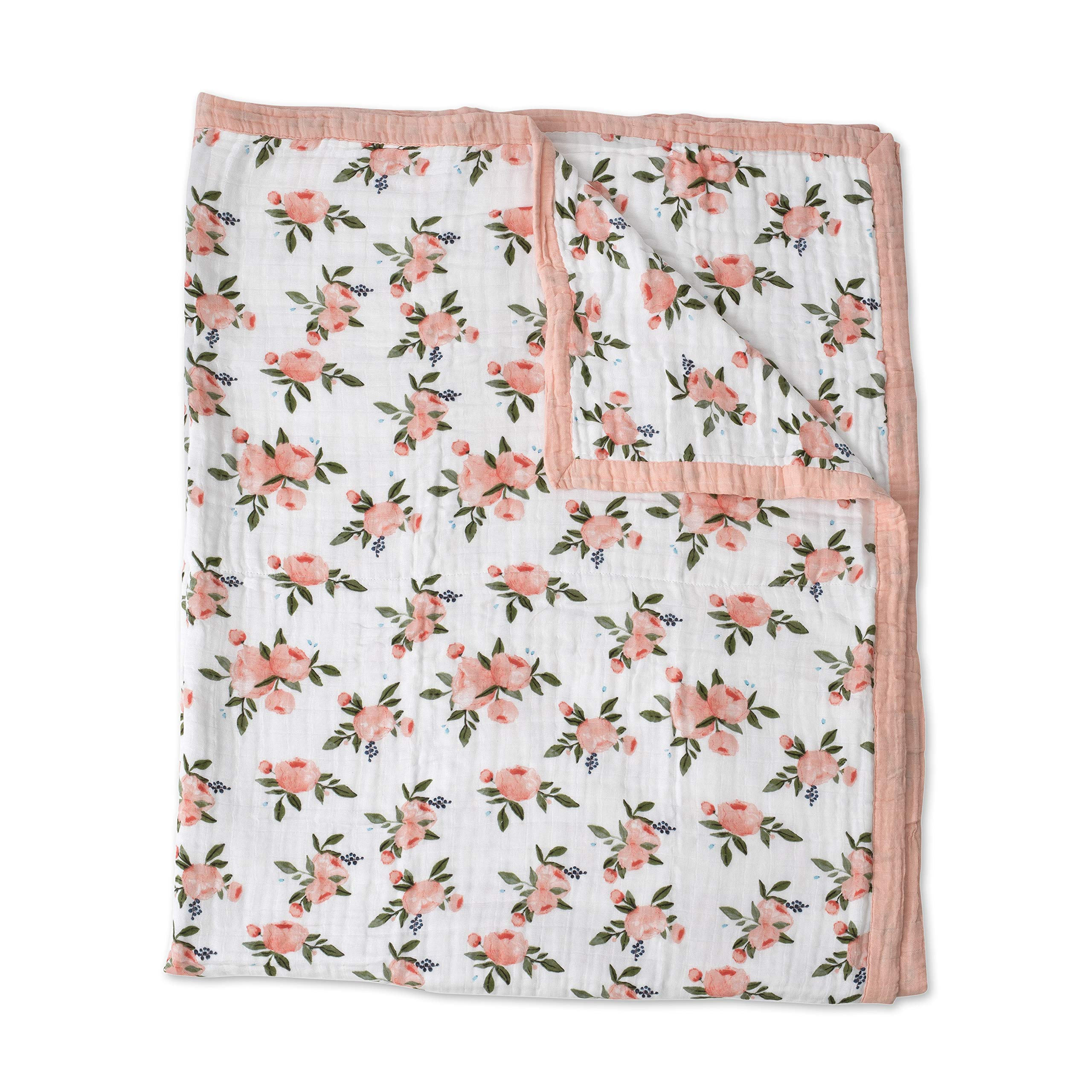 Little Unicorn Extra Soft Cotton Muslin Large Quilt - Watercolor Roses