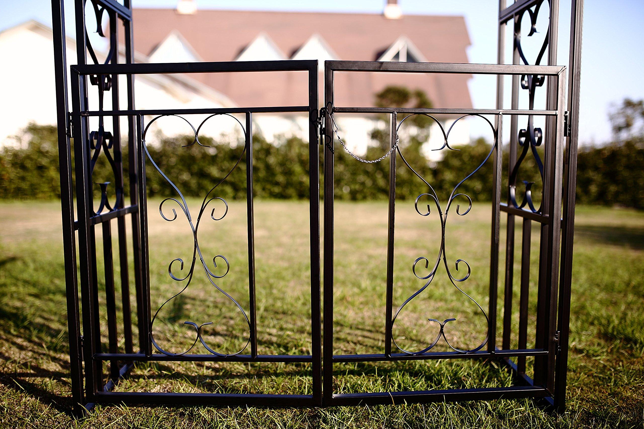 1. GO Steel Garden Arch with Gate, 6'7'' High x 3'7'' Wide, Garden Arbor for Various Climbing Plant, Outdoor Garden Lawn Backyard by 1. GO (Image #7)