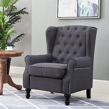Amazoncom Harper Bright Designs Wingback Accent Chair Tufted
