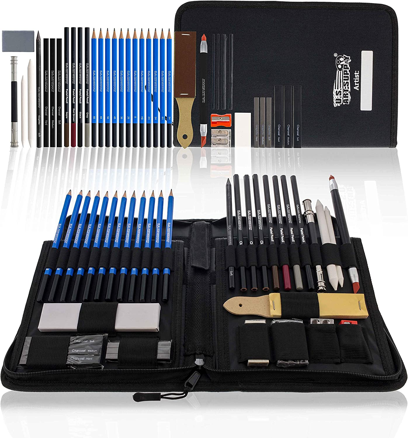 U.S. Art Supply 40-Piece Drawing & Sketching Art Set - Professional Complete Artist Kit, Graphite, Charcoal, Pastel Pencils & Sticks, Blend Stumps, Erasers - Zippered Pop-Up Carry Case, Kids, Students