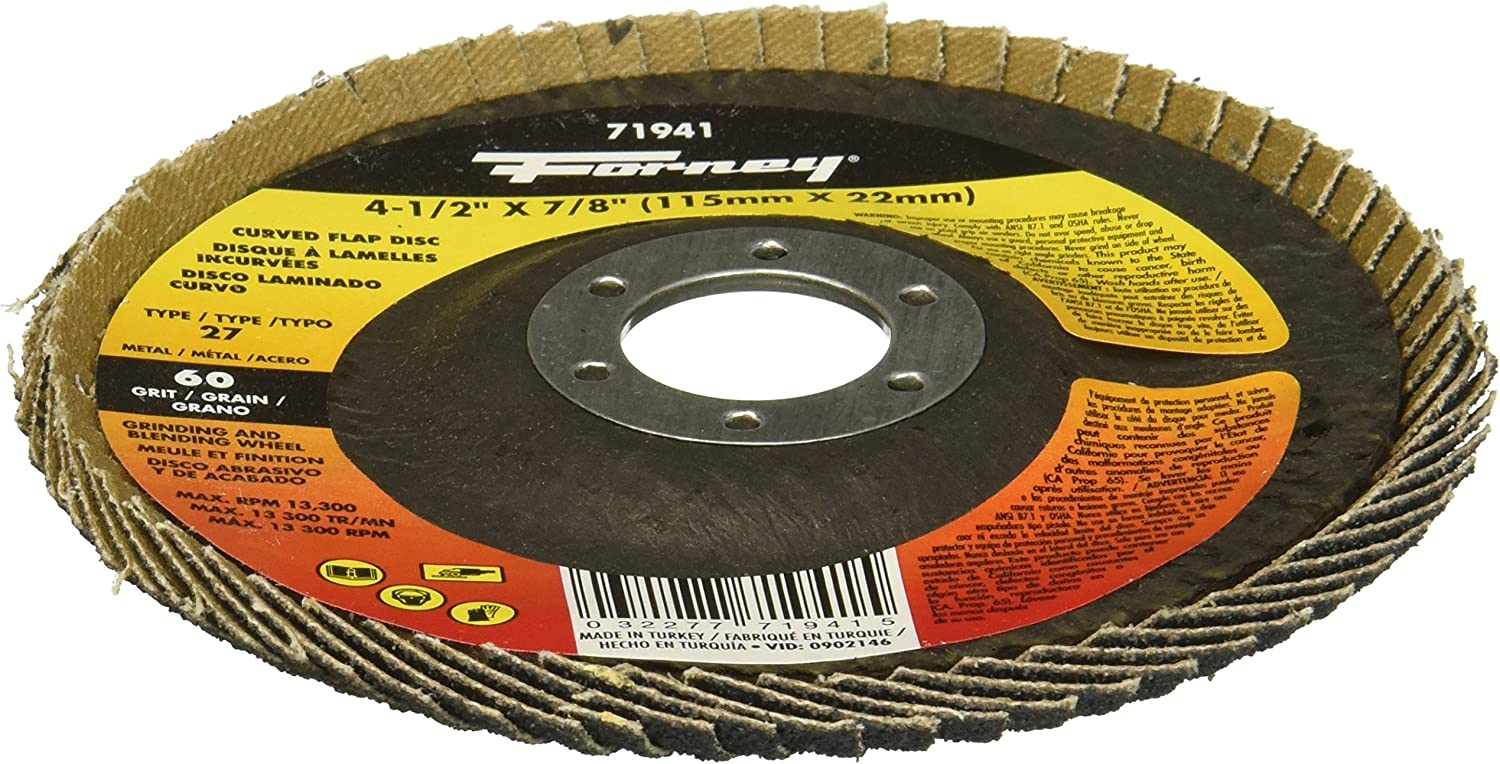 4-1//2 x 7//8 60 Grit 4-1//2 x 7//8 Forney Industries Forney 71941 Curved Edge Flap Disc