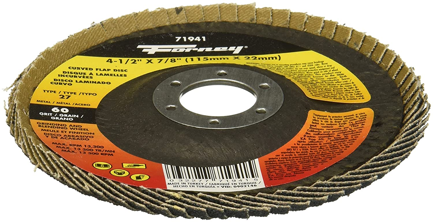 4-1//2 x 7//8 Forney 71941 Curved Edge Flap Disc 60 Grit 4-1//2 x 7//8 Forney Industries