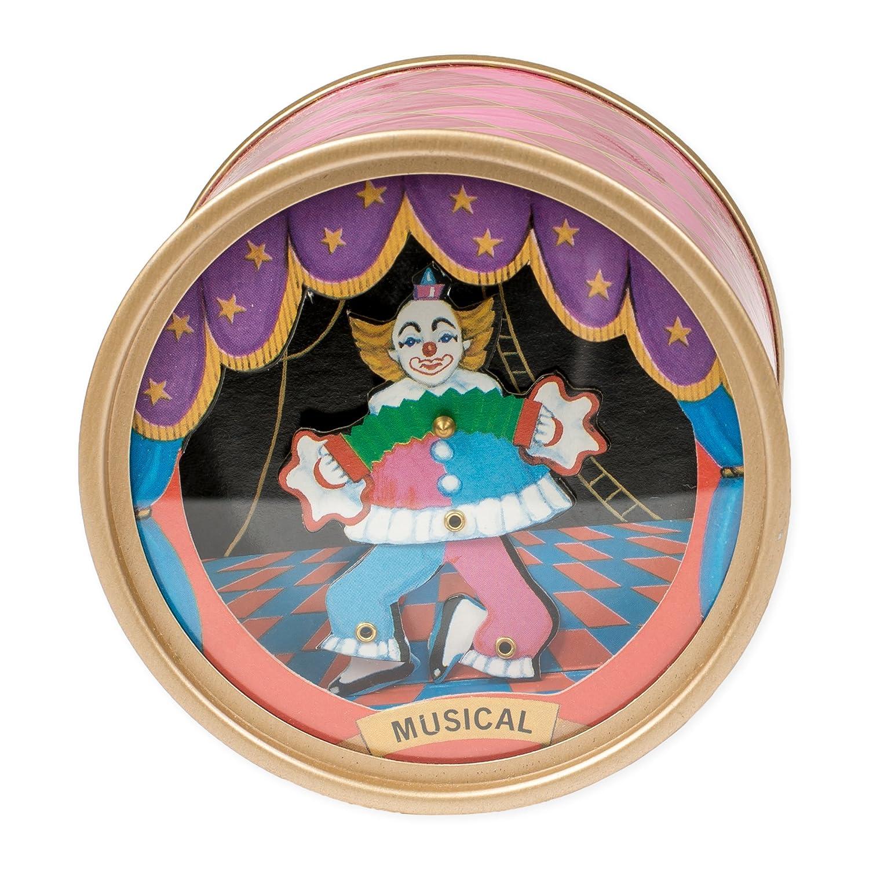 Dancing Circus Clown Pink Argyle Drum Hardboard Musical Figurine Plays Tune Send In the Clowns Splendid Music Box Co.