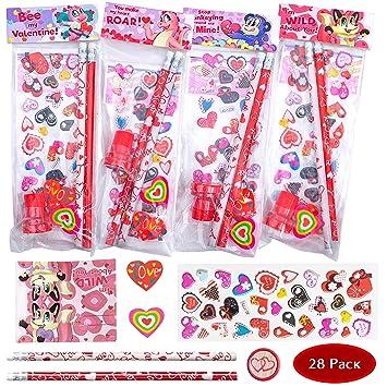 Amazon Com Joyin 28 Pack Assorted Valentines Day Stationery Kids