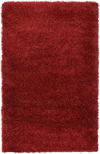 Unique Loom Luxe Solo Collection Plush Modern Red Area Rug 3 3 x 5 3