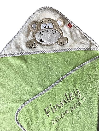 Toalla con capucha con nombre y fecha de nacimiento bordado/Toalla de baño de microfibra