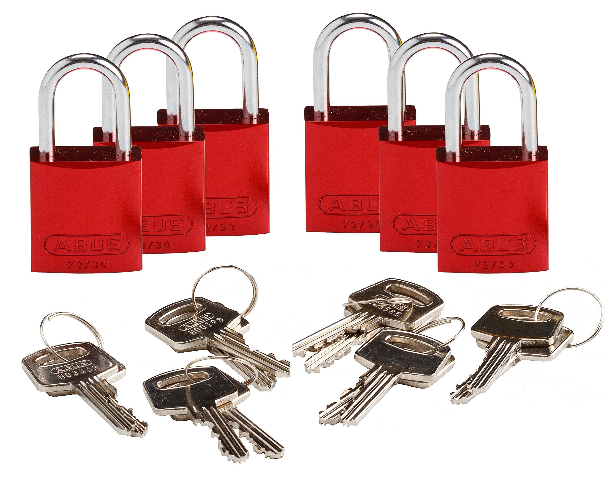 Brady 133288 Keyed Padlock, Alike Key, Aluminum (Pack of 6) by Brady