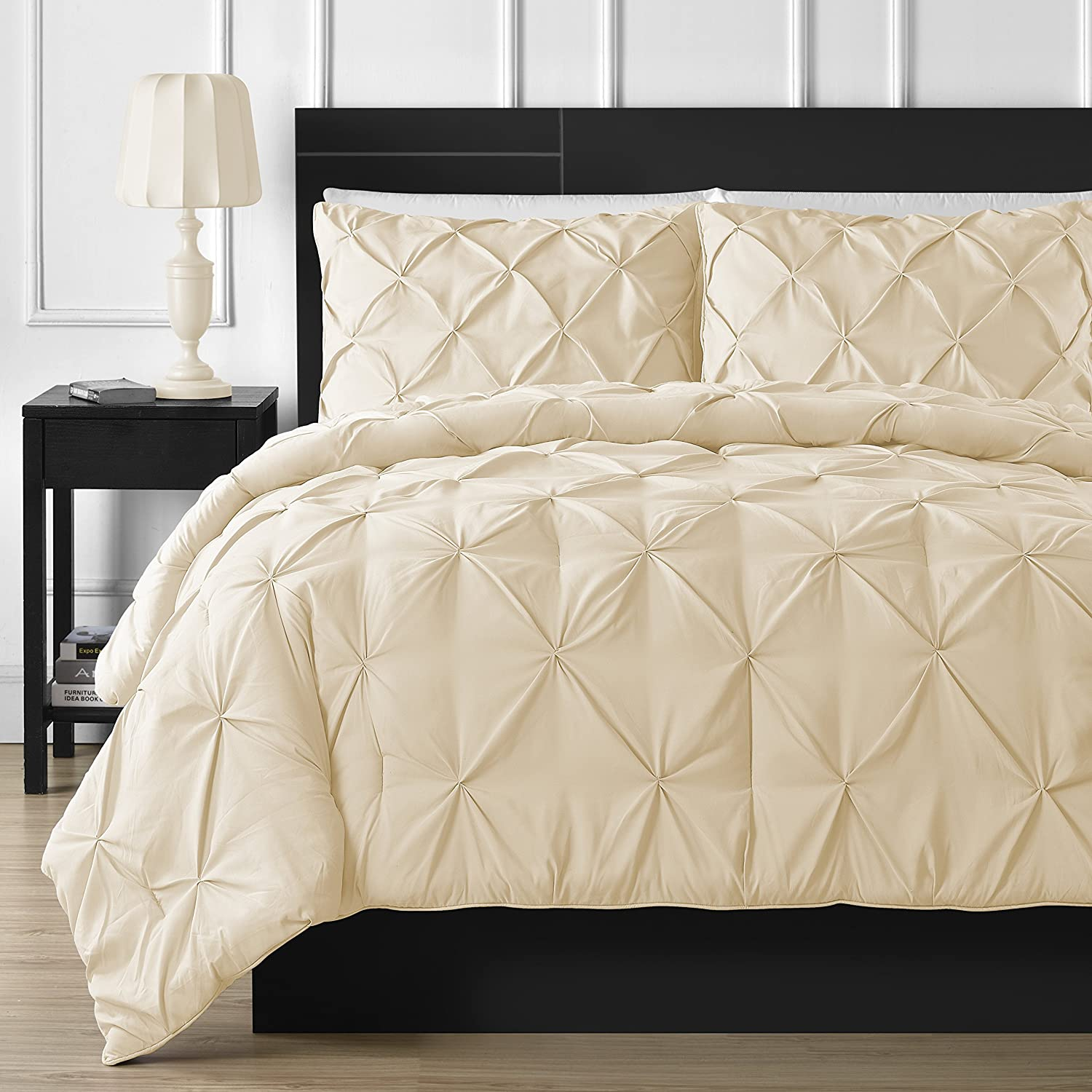 3-piece Pinch Pleat Comforter Set Full, Vanilla