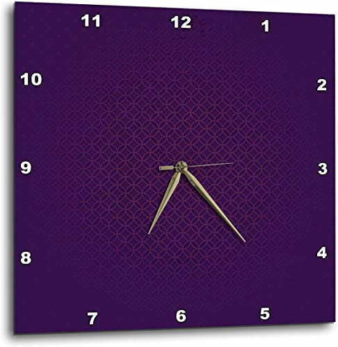 3dRose 3D Rose Stylish Dark Purple Tone Abstract Circles and Diamonds-Wall Clock, 15-inch DPP_202455_3