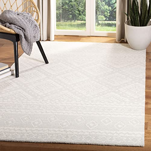 Safavieh MLP501G-8 Micro-Loop Collection MLP501G Handmade Grey and Ivory Premium Wool Area 8 x 10 Rug, Light