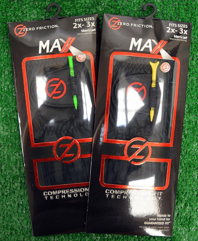 2ゼロ摩擦Maxxメンズゴルフグローブ2 x - 3 X、左、手、ブラック   B01LYWVN2A