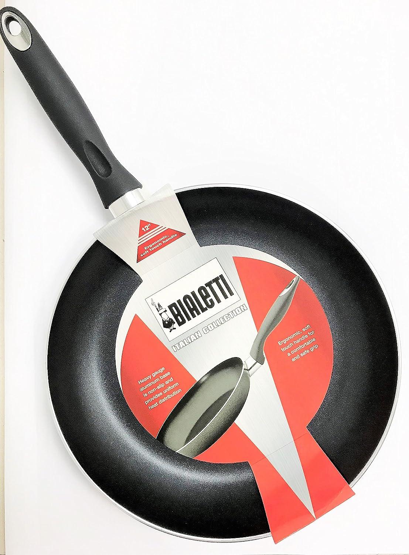 Bialetti 12 pulgadas sartén apta para lavavajillas antiadherente Cook n Pour diseño sartén parte inferior de gran calibre fabricado en Italia: Amazon.es: ...