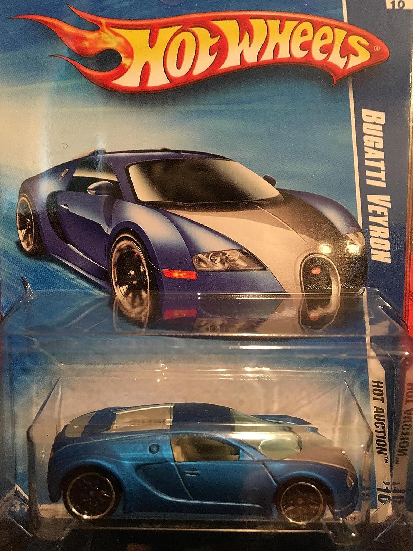 Amazon Com Hot Wheels 2010 160 Blue Bugatti Veyron Hot Auction 1 64 Scale Toys Games
