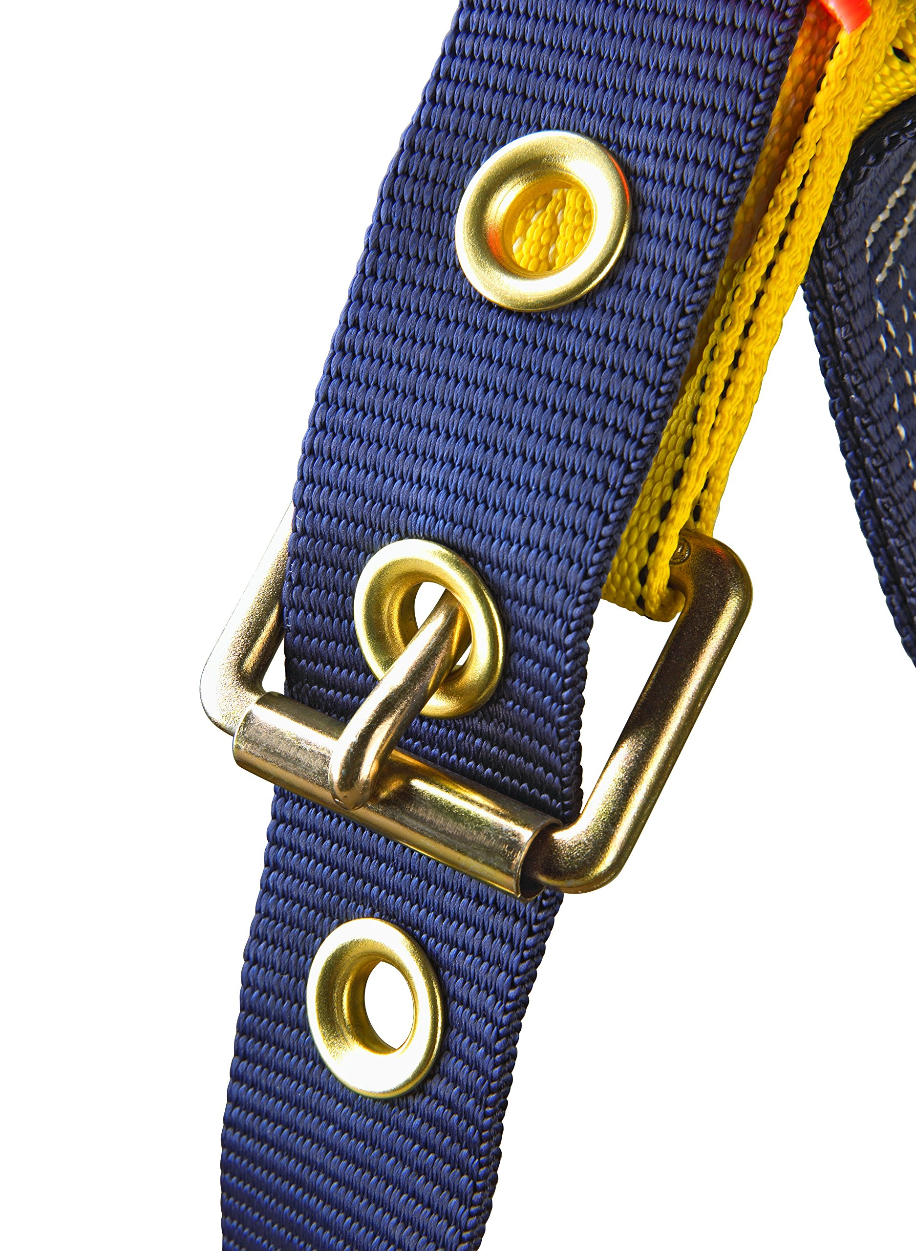 3M DBI-SALA Delta 1101654 Construction Harness, Back/Side D-Rings, Belt w/Sewn-In Back & Shoulder Pads, Tongue Buckle Leg Straps, Medium, Navy/Yellow by 3M Fall Protection Business (Image #4)