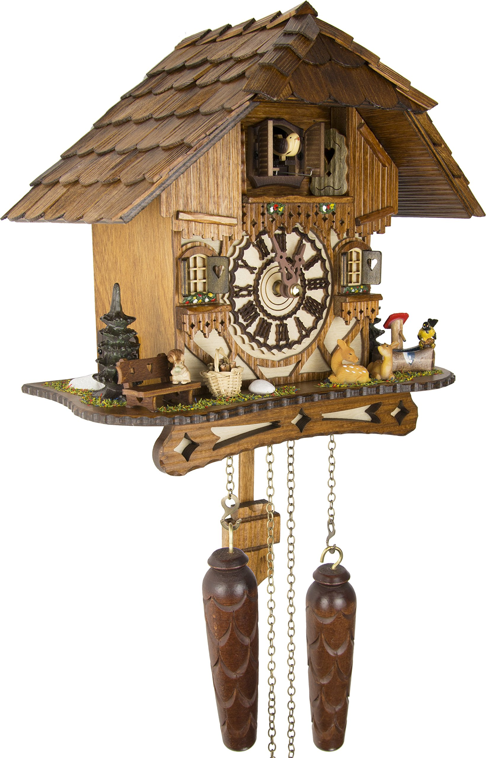 German Cuckoo Clock - Blackforest Hillside Chalet with wonderful animals - BY CUCKOO-PALACE with quartz movement - 10 1/4 inches height by Cuckoo-Palace (Image #2)