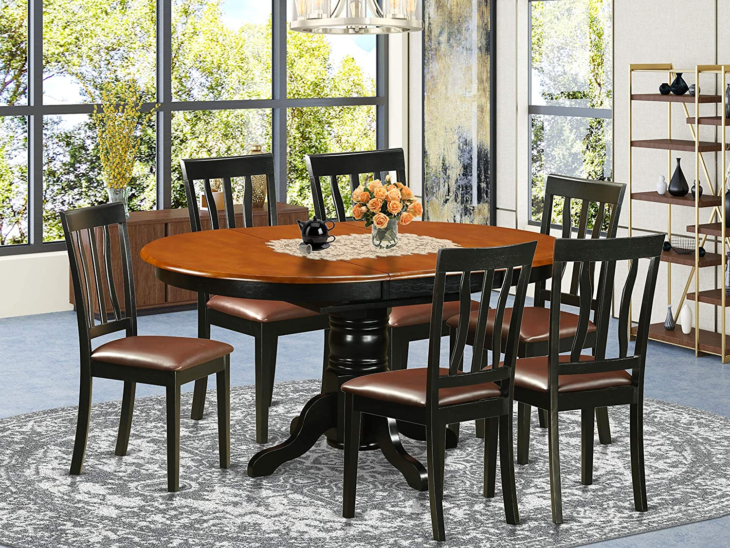 Amazon Com East West Furniture 7 Pieces Nook Kitchen Table Set Pu Leather Wood Chairs Black And Cherry Finish Hardwood Butterfly Leaf Pedestal Modern Dining Table And Frame Table Chair Sets