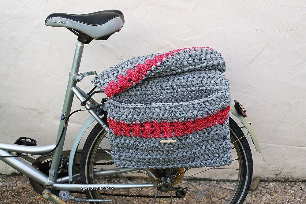Alforja doble de crochet para bicicleta convertible en bolso. Gris ...