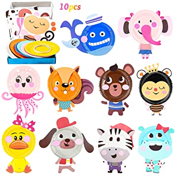 Buy Mallmall6 10pcs Animal Paper Plate Art Kits For Kids Diy Craft Sticker Card Games Activity Handmade 3d Animals With Body Paper Crafts Project Classroom Supplies For Preschool Toddler Boys Girls Online