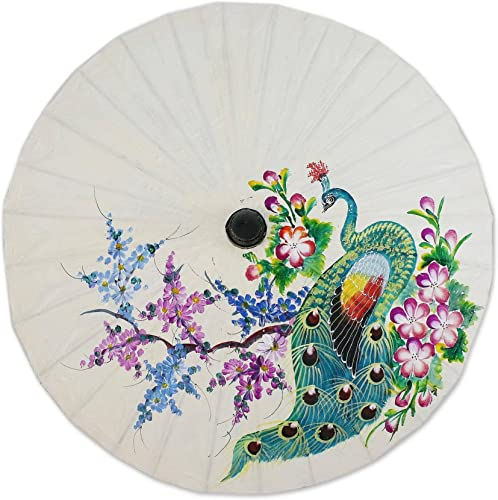 NOVICA Floral Mulitcolor Saa Paper and Bamboo Painted Paper Parasol, Peacock and Flowers