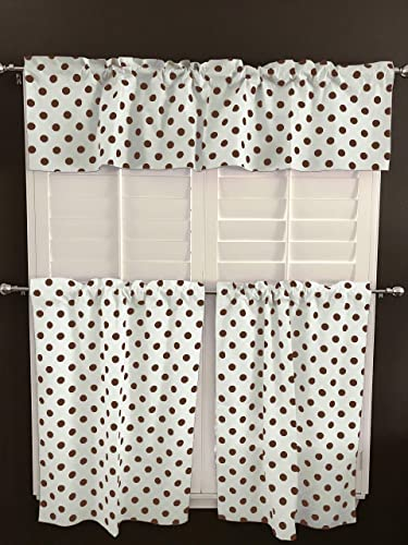 lovemyfabric Poly Cotton Fun with Polka Dots Spots Print 3-Piece Kitchen Curtain Valance Window Treatment Set Brown on White