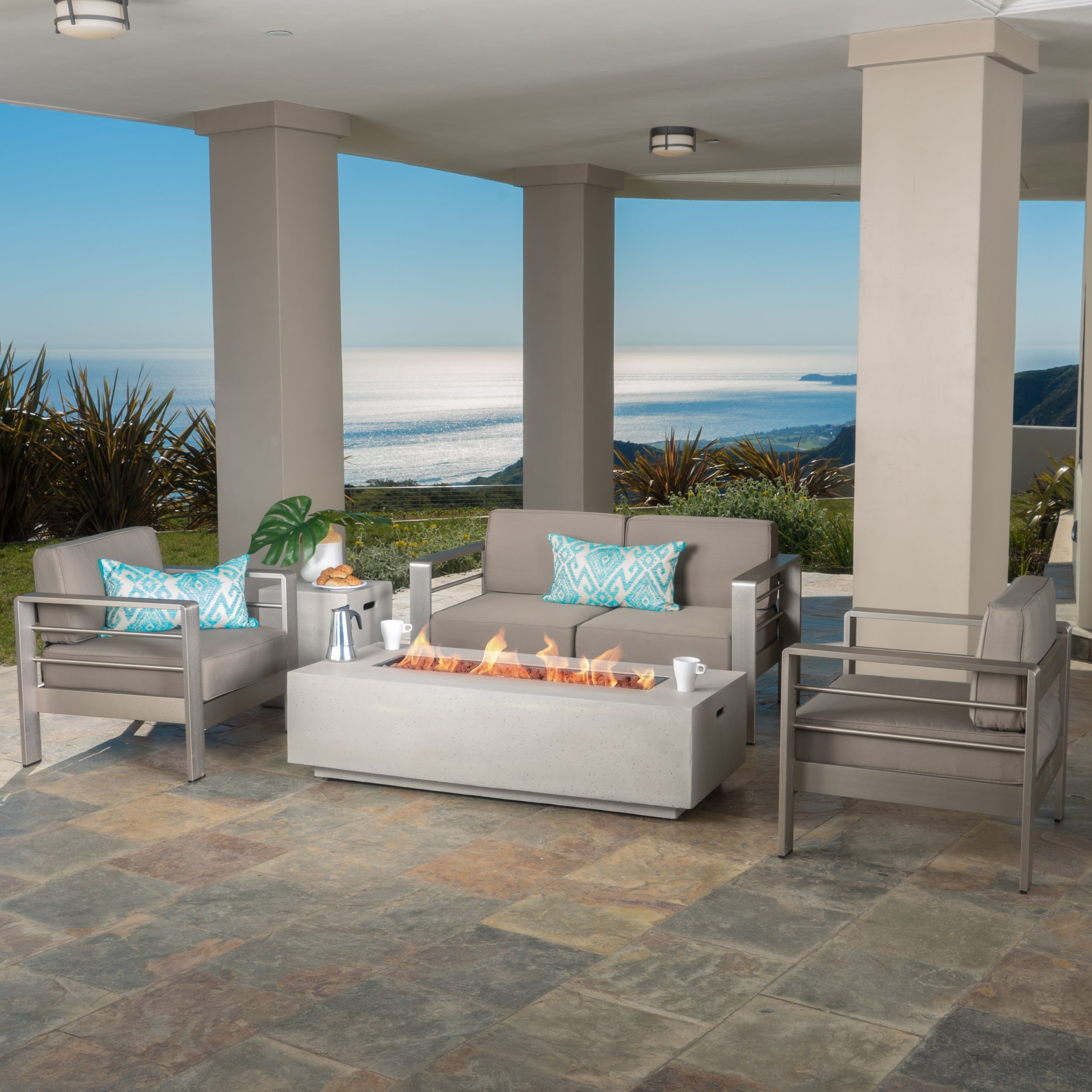 Crested Bay Patio Furniture ~ Outdoor Aluminum Sectional Sofa Set with Light Grey Fire Table (Khaki with Light Grey Fire Table) by GDF Studio