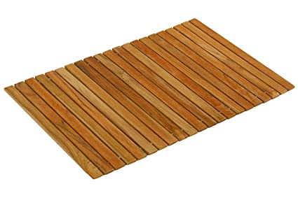 Bare Decor Asi Genuine Teak Wood Flexible Table Top Placemat Or Sofa Arm  Tray, 1