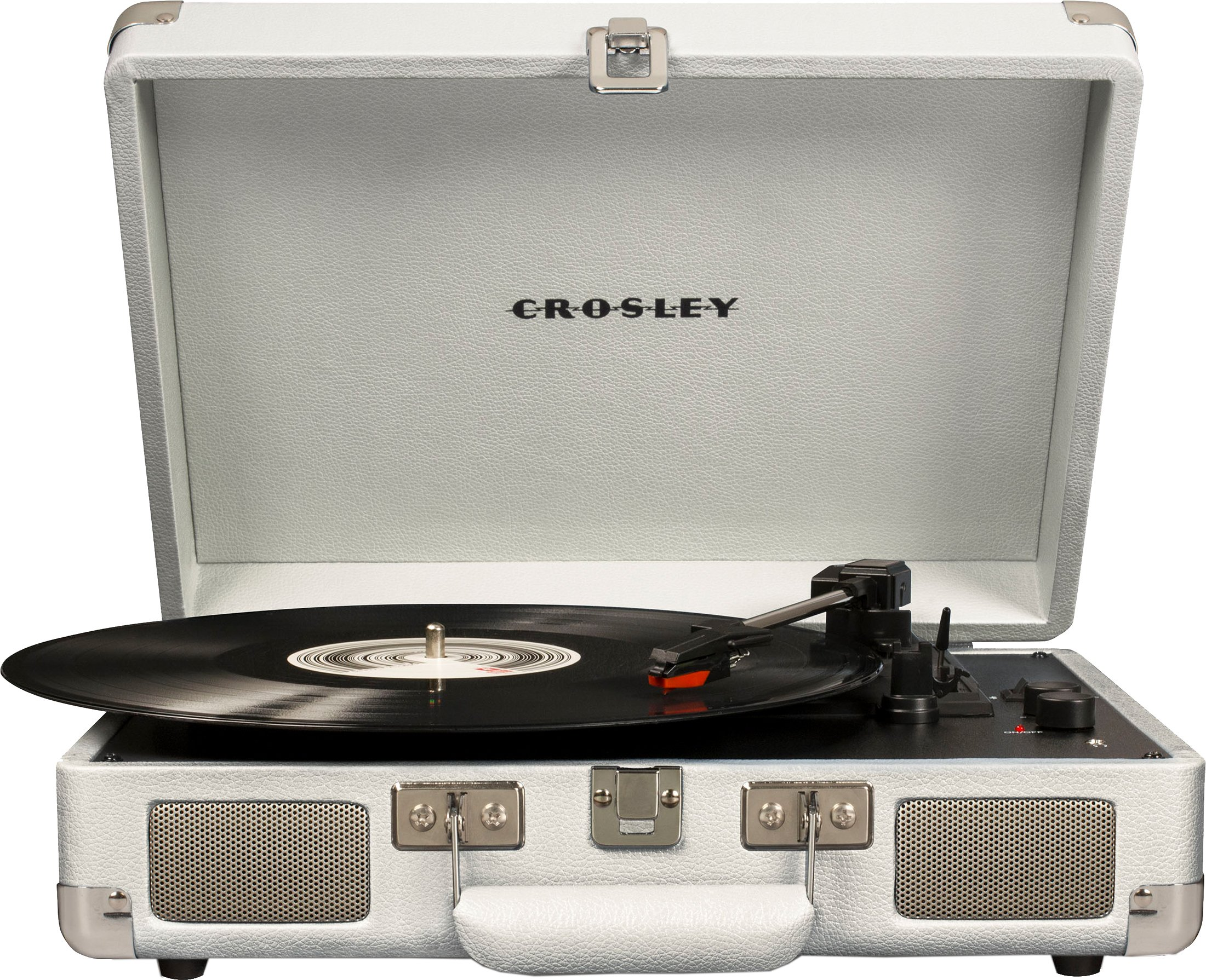 Crosley Cruiser Deluxe Vintage 3-Speed Bluetooth Suitcase Turntable, White Sand by Crosley