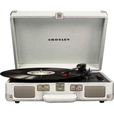 Crosley Cruiser Deluxe Vintage 3-Speed Bluetooth Suitcase Turntable, White Sand